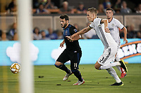 SAN JOSE, CA - SEPTEMBER 25: Vako #11 of the San Jose Earthquakes is defended by Jack Elliott #3 of the Philadelphia Union during a Major League Soccer (MLS) match between the San Jose Earthquakes and the Philadelphia Union on September 25, 2019 at Avaya Stadium in San Jose, California.