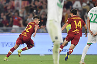 Stephan El Shaarawy of AS Roma celebrates after scoring  the goal of 2-1  during the Serie A football match between AS Roma and US Sassuolo at Olimpico stadium in Rome (Italy), September 12th, 2021. Photo Antonietta Baldassarre / Insidefoto