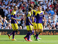 Sunday 01 September 2013<br /> Pictured:  Ben Davies of Swansea (R) congratulated by Michu and other team mates celebrating his opening goal.<br /> Re: Barclay's Premier League, West Bromwich Albion v Swansea City FC at The Hawthorns, Birmingham, UK.