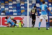 Hirving Lozano of SSC Napoli scores the goal of 1-0 during the Serie A football match between SSC Napoli and Genoa CFC at San Paolo stadium in Napoli (Italy), September 27th, 2020. Photo Cesare Purini / Insidefoto