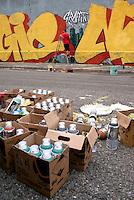Milano, Leonka Walls Repainting, i muri del centro sociale Leoncavallo vengono ridipinti. Bombolette vernice spray --- Milan, Leonka Walls Repainting, the walls of Leoncavallo social centre get repainted. Paint spray cans