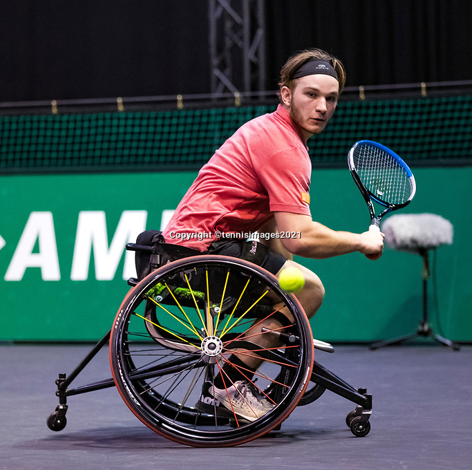 Rotterdam, The Netherlands, 4 march  2021, ABNAMRO World Tennis Tournament, Ahoy, First round wheelchair: Jef Vandorpe (BEL).<br /> Photo: www.tennisimages.com/