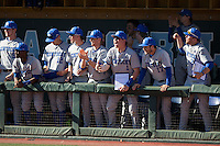 The Kentucky Wildcats bench reacts to a base hit during the game against the North Carolina Tar Heels at Boshmer Stadium on February 17, 2017 in Chapel Hill, North Carolina.  The Tar Heels defeated the Wildcats 3-1.  (Brian Westerholt/Four Seam Images)
