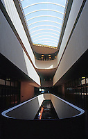 F.L. Wright: Marin County Civic Center. Skylight, Balconies. (Compare to Larkin Bldg.)  Photo '83.