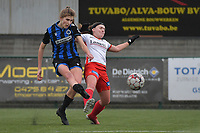 Marie Minnaert (13) of Club Brugge and Liesa Capiau (15) of Zulte-Waregem  pictured during a female soccer game between SV Zulte - Waregem and Club Brugge YLA on the 13 th matchday of the 2020 - 2021 season of Belgian Scooore Womens Super League , saturday 6 th of February 2021  in Zulte , Belgium . PHOTO SPORTPIX.BE | SPP | DIRK VUYLSTEKE