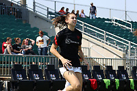 CARY, NC - SEPTEMBER 12: Morgan Weaver #22 of the Portland Thorns FC warms up before a game between Portland Thorns FC and North Carolina Courage at Sahlen's Stadium at WakeMed Soccer Park on September 12, 2021 in Cary, North Carolina.