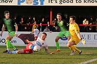 Ben Hinchliffe of Stockport denies Ben House of Dagenham during Dagenham & Redbridge vs Stockport County, Vanarama National League Football at the Chigwell Construction Stadium on 8th February 2020