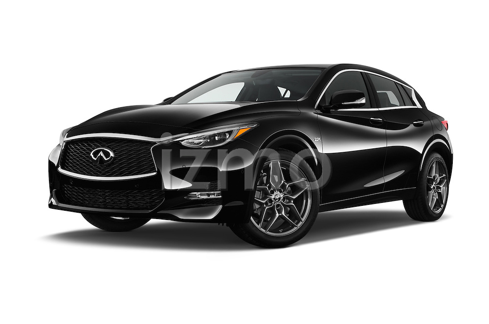 Stock pictures of low aggressive front three quarter view of 2018 Infiniti QX30 Sport 5 Door SUV Low Aggressive