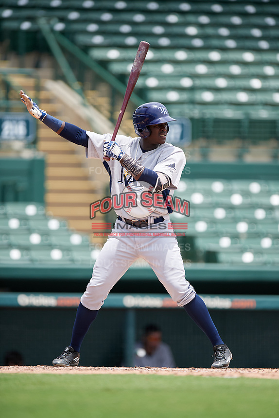 GCL Rays left fielder Yerson Santana (37) asks for time during a game against the GCL Orioles on July 21, 2017 at Ed Smith Stadium in Sarasota, Florida.  GCL Orioles defeated the GCL Rays 9-0.  (Mike Janes/Four Seam Images)