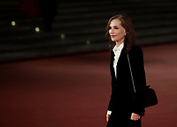 """French actress Isabelle Huppert poses on the red carpet for the screening of the film """"Les Discours"""" during the 15th Rome Film Festival (Festa del Cinema di Roma) at the Auditorium Parco della Musica in Rome on October 15, 2020.<br /> UPDATE IMAGES PRESS/Isabella Bonotto"""