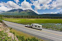 Motor home travel on the Seward highway, Kenai Peninsula, Alaska