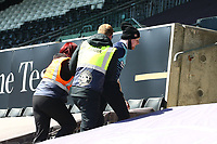 17th April 2021; Liberty Stadium, Swansea, Glamorgan, Wales; English Football League Championship Football, Swansea City versus Wycombe Wanderers; A Wycombe Wanderers fan is escorted out by stewards after he manages to get into the ground during play