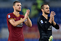 Edin Dzeko and Pau Lopez of AS Roma wave the fans at the end of the match  <br /> Roma 2-11-2019 Stadio Olimpico <br /> Football Serie A 2019/2020 <br /> AS Roma - SSC Napoli <br /> Foto Andrea Staccioli / Insidefoto