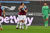 Mark Noble of West Ham United and Aaron Cresswell At the Final Whistle Applause Fan's during West Ham United vs Aston Villa, Premier League Football at The London Stadium on 30th November 2020