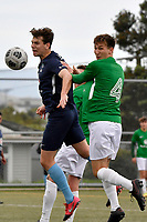 Thomas Scott of the North Wellington FC  competes for the ball with Bertie Fish of the Wairarapa United during the Central League Football -  North Wellington FC v Wairarapa United at Alex Moore Park ( Alex Moore Artificial), Johnsonville, New Zealand on Saturday 29 May 2021.<br /> Copyright photo: Masanori Udagawa /  www.photosport.nz