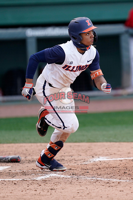 Center fielder Taylor Jackson (15) of the Illinois Fighting Illini in a game against the Ohio State Buckeyes on Friday, March 5, 2021, at Fluor Field at the West End in Greenville, South Carolina. (Tom Priddy/Four Seam Images)