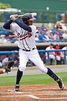 Edward Salcedo #1 of the Rome Braves at bat against the Hagerstown Suns at State Mutual Stadium on May 1, 2011 in Rome, Georgia.   Photo by Brian Westerholt / Four Seam Images