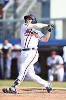 Michael Mateja (20) of the Danville Braves follows through on his swing during a game against the Bluefield Blue Jays at American Legion Post 325 Field on July 28, 2019 in Danville, Virginia. The Blue Jays defeated the Braves 9-7. (Tracy Proffitt/Four Seam Images)