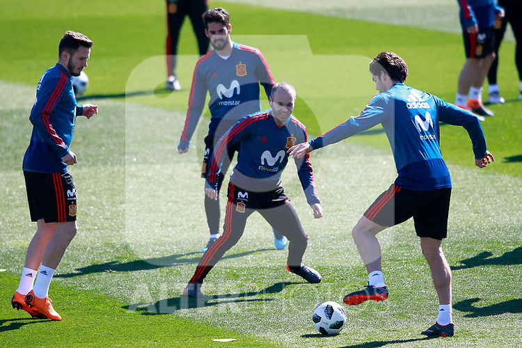 Spain's Saul Niguez, Isco Alarcon, Andres Iniesta and Marcos Alonso during training session. March 21,2018.(ALTERPHOTOS/Acero)