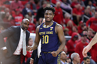 RALEIGH, NC - JANUARY 9: T.J. Gibbs #10 of the University of Notre Dame during a game between Notre Dame and NC State at PNC Arena on January 9, 2020 in Raleigh, North Carolina.