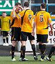 Alloa's Stephen Simmons (left) celebrates after he scores their second goal.