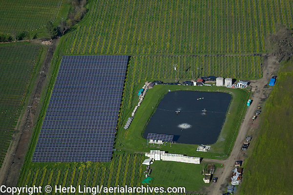 aerial photograph of a solar panel array in a Napa Valley vineyard, Napa County, California