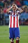 Atletico de Madrid´s Mandzukic reacts regretting a goal chance during Champions League soccer match between Atletico de Madrid and Olympiacos at Vicente Calderon stadium in Madrid, Spain. November 26, 2014. (ALTERPHOTOS/Victor Blanco)