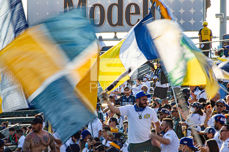 CARSON, CA - MAY 8: Los Angeles Galaxy fans during a game between Los Angeles FC and Los Angeles Galaxy at Dignity Health Sports Park on May 8, 2021 in Carson, California.