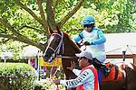 July 18, 2015: Scenes around the track: Beauty Girls Dream, Mario Rodriguez up, walks in the paddock before race 5, a maiden claiming race for fillies and mares 3 and upward, one and 1/16 miles on the turf at Delaware Park in Stanton DE.  Joan Fairman Kanes/ESW/CSM