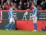 Aberdeen v St Johnstone…29.04.17     SPFL    Pittodrie<br />Chris Millar goes off injured<br />Picture by Graeme Hart.<br />Copyright Perthshire Picture Agency<br />Tel: 01738 623350  Mobile: 07990 594431