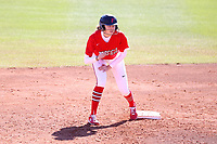 GREENSBORO, NC - FEBRUARY 22: Haley Updegraff #5 of Fairfield University waits on second base during a game between Fairfield and North Carolina at UNCG Softball Stadium on February 22, 2020 in Greensboro, North Carolina.