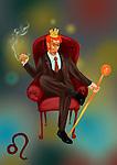 Illustrative representation showing characteristic of a Leo businessman