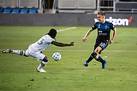 SAN JOSE, CA - SEPTEMBER 19: Yimmi Chara #23 of the Portland Timbers and Tommy Thompson of the San Jose Earthquakes during a game between Portland Timbers and San Jose Earthquakes at Earthquakes Stadium on September 19, 2020 in San Jose, California.