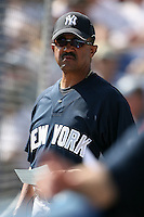 February 25, 2009:  Coach Tony Pena of the New York Yankees during a Spring Training game at Dunedin Stadium in Dunedin, FL.  The New York Yankees defeated the Toronto Blue Jays 6-1.   Photo by:  Mike Janes/Four Seam Images