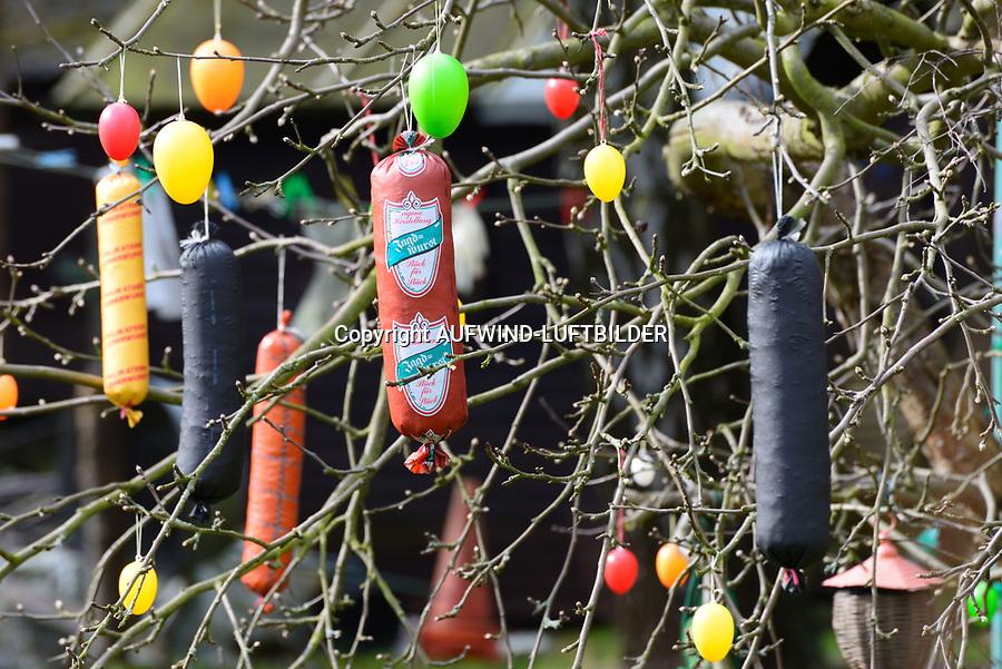 Frohe Wurschtern: EUROPA, DEUTSCHLAND, HAMBURG, (EUROPE, GERMANY), 19.03.2014: In einem Baum in einem Hamburger Kleingarten haengen nicht nur Ostereier sondern auch Würste in den Bäumen.