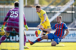 Inverness Caley v St Johnstone…08.04.17     SPFL    Tulloch Stadium<br />Craig Thomson shhots into the side netting under a tackle from Louis Laing<br />Picture by Graeme Hart.<br />Copyright Perthshire Picture Agency<br />Tel: 01738 623350  Mobile: 07990 594431