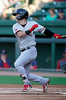 Center fielder Kellen Strahm (33) of the Hickory Crawdads in a game against the Greenville Drive on Wednesday, June 16, 2021, at Fluor Field at the West End in Greenville, South Carolina. (Tom Priddy/Four Seam Images)
