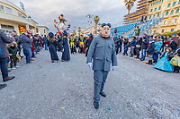 """Europe, Italy, Tuscany, Viareggio, Fabrizio Galli, disguised as a kim jong-un, in front of his chariot """"the peace of crystal"""""""