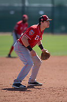 Cincinnati Reds third baseman Taylor Sparks (23) during a Minor League Spring Training game against the Chicago White Sox at the Cincinnati Reds Training Complex on March 28, 2018 in Goodyear, Arizona. (Zachary Lucy/Four Seam Images)