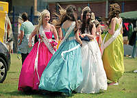 """Queen of Corby Aimee Burlington, accompanied by Miss Amanda Sinclair, Miss Danielle Gaskell, Miss Zeenat Britt, Miss Laura Huxtable, & Miss Rebecca Hanratty.<br /> <br /> """"You must wear your sash and tiara at all events unless otherwise instructed."""""""