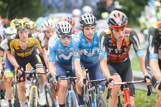 Enric Mas (ESP) and Miguel Angel Lopez Moreno (COL) Movistar Team in the main bunch during Stage 18 of La Vuelta d'Espana 2021, running 162.6km from Salas to Alto del Gamoniteiru, Spain. 2nd September 2021.    <br /> Picture: Luis Angel Gomez/Photogomezsport | Cyclefile<br /> <br /> All photos usage must carry mandatory copyright credit (© Cyclefile | Luis Angel Gomez/Photogomezsport)