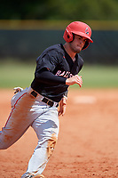 Ball State Cardinals second baseman Noah Navarro (8) running the bases during a game against the Saint Joseph's Hawks on March 9, 2019 at North Charlotte Regional Park in Port Charlotte, Florida.  Ball State defeated Saint Joseph's 7-5.  (Mike Janes/Four Seam Images)