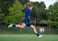 KASHIMA, JAPAN - AUGUST 1: Alyssa Naeher #1 of the USWNT punts the ball during a training session at the practice field on August 1, 2021 in Kashima, Japan.