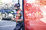 Mikel Landa (ESP) Bahrain Victorious at the team bus before the start of Stage 15 of La Vuelta d'Espana 2021, running 197.5km from Navalmoral de la Mata to El Barraco, Spain. 29th August 2021.     <br /> Picture: Charly Lopez/Unipublic | Cyclefile<br /> <br /> All photos usage must carry mandatory copyright credit (© Cyclefile | Unipublic/Charly Lopez)