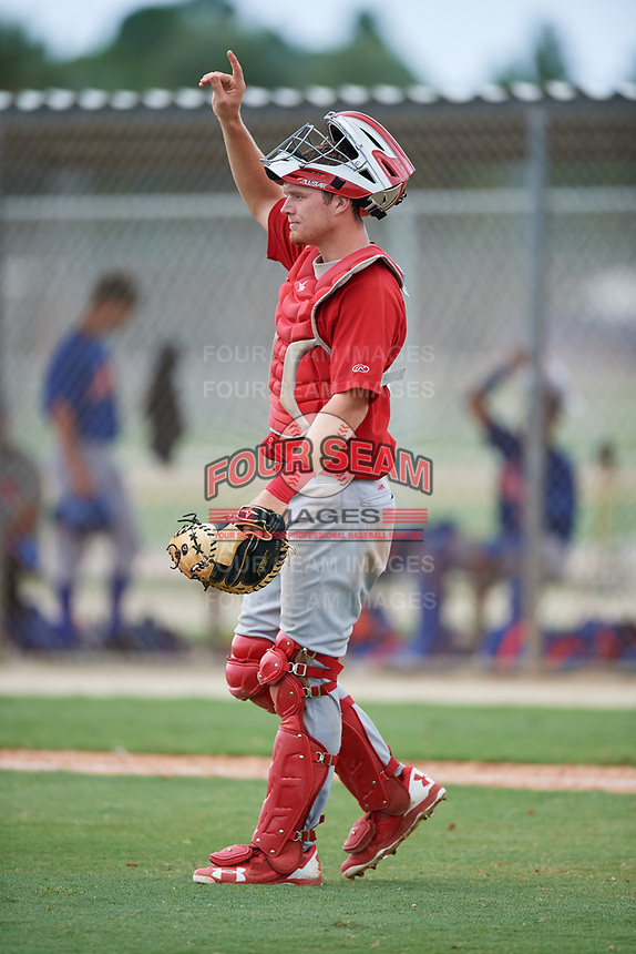 GCL Cardinals catcher Zach Jackson (39) signals to the defense during a game against the GCL Mets on July 23, 2017 at Roger Dean Stadium Complex in Jupiter, Florida.  GCL Cardinals defeated the GCL Mets 5-3.  (Mike Janes/Four Seam Images)