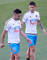 Colombia's James Rodriguez (r) and Radamel Falcao during training session. June 6,2017.(ALTERPHOTOS/Acero) (NortePhoto.com) (NortePhoto.com)