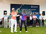 Suzann Pettersen of Norway, Inbee Park of South Korea and Shanshan Feng of China attend a clinic with Chinese junior players ahead the World Ladies Championship at the Mission Hills Haikou Sandbelt course on 6 March 2013 in Hainan island, China . Photo by Victor Fraile / The Power of Sport Images