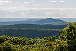 Aerial view west of the Quabbin Reservior in central Massachusetts.  The mountain range off in the distance is the Berkshires, some 50 miles away.