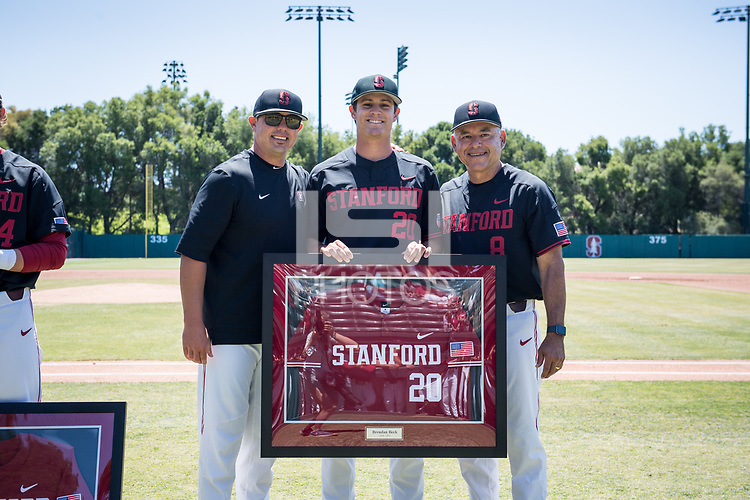 STANFORD, CA - MAY 29: Senior Brendan Beck, David Esquer, Thomas Eager before a game between Oregon State University and Stanford Baseball at Sunken Diamond on May 29, 2021 in Stanford, California.
