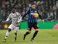 Calcio, semifinali di andata di Coppa Italia: Juventus vs Inter. Torino, Juventus Stadium, 27 gennaio 2016.<br /> FC Inter's Danilo D'Ambrosio, right, is challenged by Juventus' Kwadwo Asamoah during the Italian Cup semifinal first leg football match between Juventus and FC Inter at Juventus stadium, 27 January 2016.<br /> UPDATE IMAGES PRESS/Isabella Bonotto